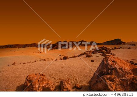 Landscape on planet Mars, scenic desert scene 49688213