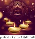Happy diwali diya oil lamp template. Indian deepavali hindu festival of lights. EPS 10 49688748
