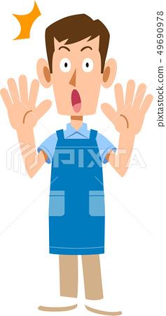 一個男人帶著驚訝的圍裙 49690978