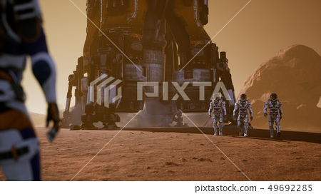 Astronauts go to the Rover after landing in a rocket on. Panoramic landscape on the surface of Mars 49692285