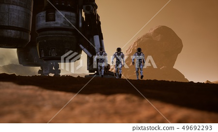 Astronauts walk on the surface of Mars after landing in a rocket. Panoramic landscape on the surface 49692293