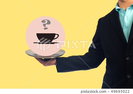 Business man with hot coffee sign in tray serve to 49693022