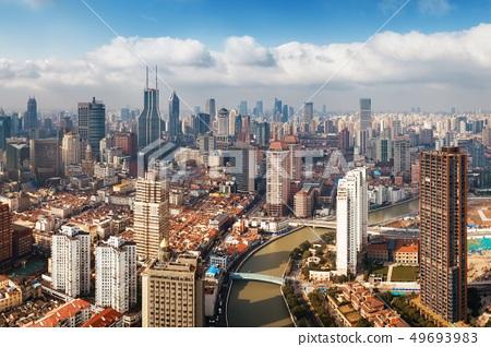 Shanghai Suzhou Creek aerial view 49693983