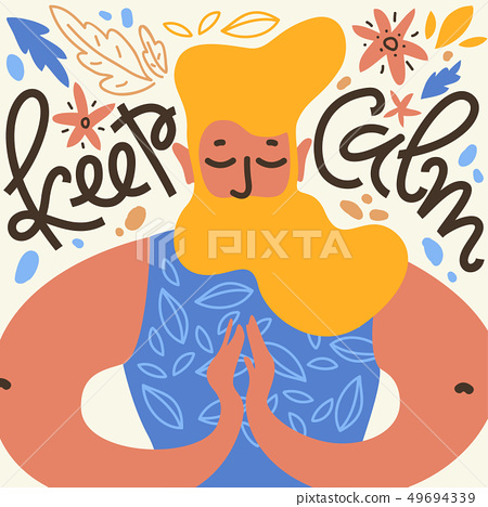 Keep calm. Vector illustration with meditate man with the beard in namaste pose, leaves and flower 49694339
