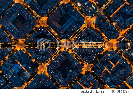Barcelona street night aerial View 49694858