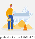 Young Male Foreman Cartoon Vector Illustration 49698473