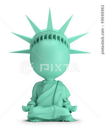 3d small people - meditating Statue of Liberty 49698962