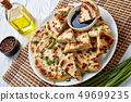 Chinese spring onion Pancakes on a plate 49699235
