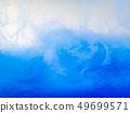 Waves of blue acrylic paint in water, close up 49699571