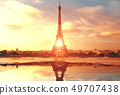 Eiffel Tower in Paris at sunset 49707438