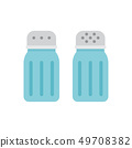 Glass salt and pepper shakers icon set. 49708382