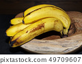 ripe yellow bananas in a wooden bowl 49709607