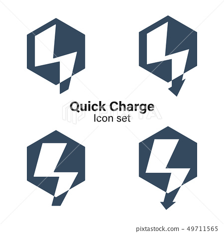 Q Letter logo with thunderbolt lightning nagative 49711565
