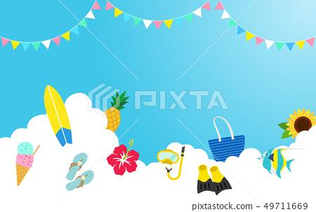 여름 휴가 하늘 구름 장식 49711669