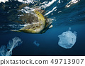 Underwater global problem with plastic rubbish 49713907