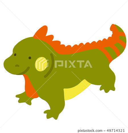 簡單可愛的綠色和橙色鬣蜥插圖,沒有輪廓 49714321