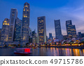 Twilight on the Quay of Singapore with Skyscrapers 49715786