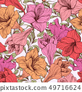 Amaryllis flower seamless floral pattern 49716624