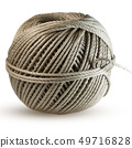 Cord skein, hemp roll, linen cord natural ball, isolated on white 49716828