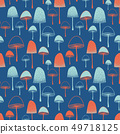 Fly agaric Mushrooms seamless vector pattern orange red blue  49718125