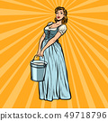 village woman with a bucket of water 49718796