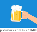 Hands holding a beer mug isolated  49721680