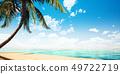 鲜艳细致的夏天海边木制平台特写背景,正视图(高分辨率 3D CG 渲染∕着色插图) 49722719