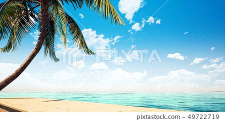 Colorful detailed summer seaside wooden platform closeup background, front view (high resolution 3D CG rendering ∕ coloring illustration) 49722719
