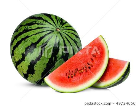 whole and slices watermelon isolated on white 49724656