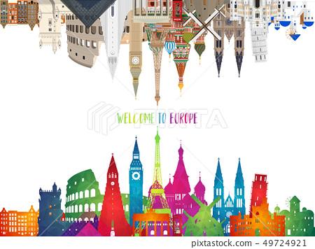 Europe famous Landmark paper art. Global Travel 49724921