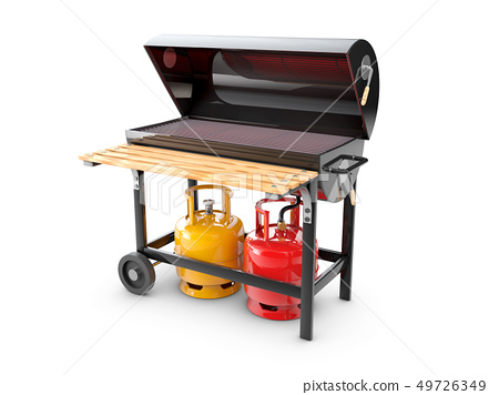 3d Illustration of a stainless steel gas barbeque 49726349