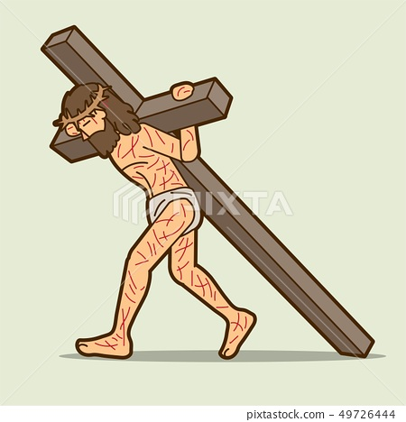 Jesus Christ Carrying Cross Cartoon Graphic Vector Stock Illustration 49726444 Pixta