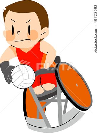 파라 스포츠 휠체어 럭비 일러스트 49728692