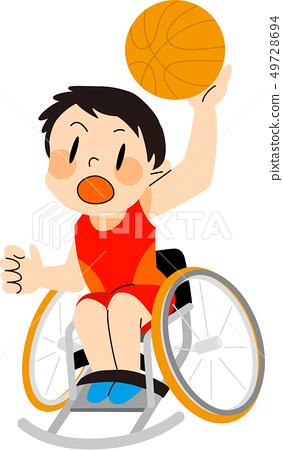 파라 스포츠 휠체어 농구 일러스트 49728694