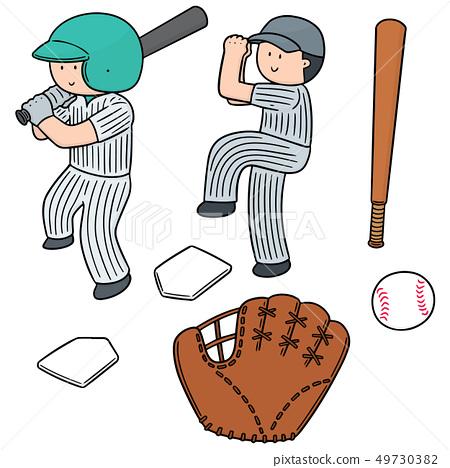 vector set of baseball player and baseball 49730382