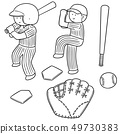 vector set of baseball player and baseball 49730383