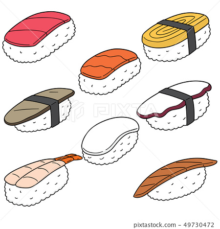 vector set of sushi (rice with raw fish) 49730472