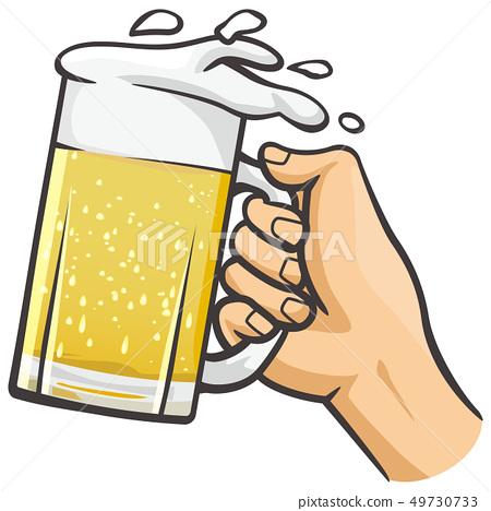 拿著啤酒杯的手 49730733