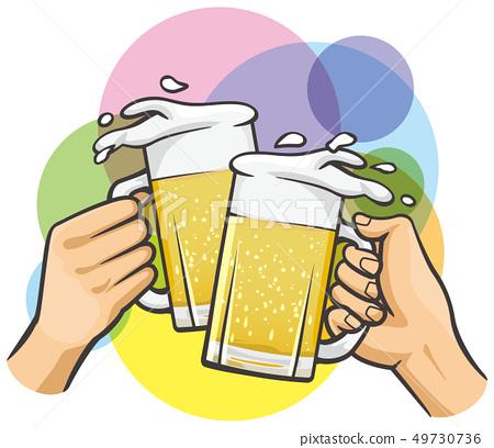 拿著啤酒杯的手 49730736