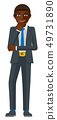 Black Business Man Thinking Mascot Concept 49731890
