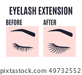 Eyelashes extension design before and after care. 49732552