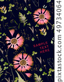 Pressed and dried summer red bohemian flowers with plants on a black 49734064