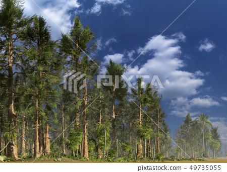 Forest of the mesozoic era 3D illustration 49735055