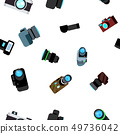 Photo Camera Seamless Pattern Vector. Photocamera Retro Icon. Travel. Cute Graphic Texture. Textile 49736042
