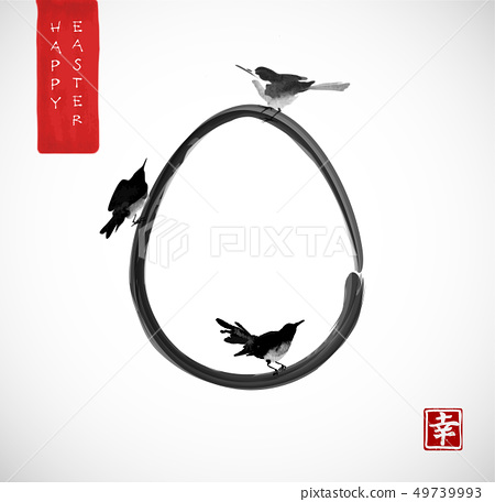 Easter greeting card with three little birds and egg. Traditional Japanese ink wash painting sumi-e 49739993