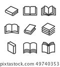 Book Line Style Icons Set on White Background. Vector 49740353