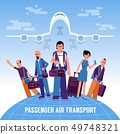 People travelers with luggage stand on the globe 49748321