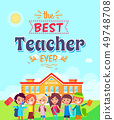 Best Teacher Ever Vector Illustration on Blue 49748708