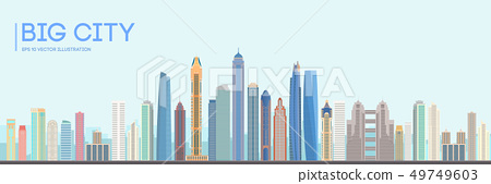 Flat vector city building design. Urban skyline cityscape. Town landscape with high skyscrapers 49749603