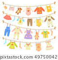 Baby Clothes Hanging on Rope Isolated Illustration 49750042